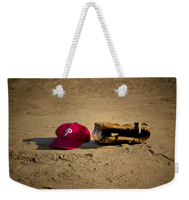 Now Weekender Tote Bag featuring the photograph Now Pitching For The Phillies by Bill Cannon