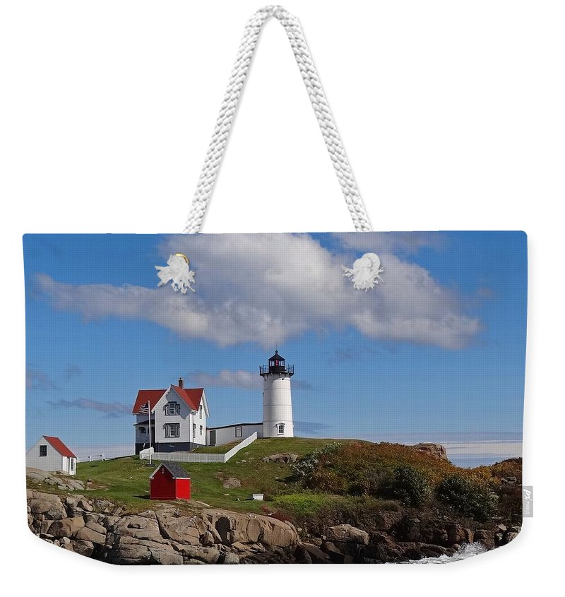 Tranquility Weekender Tote Bag featuring the photograph Nubble Lighthouse by Photo Jacques Trempe