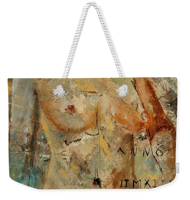 Nude Weekender Tote Bag featuring the painting Nude 453130 by Pol Ledent