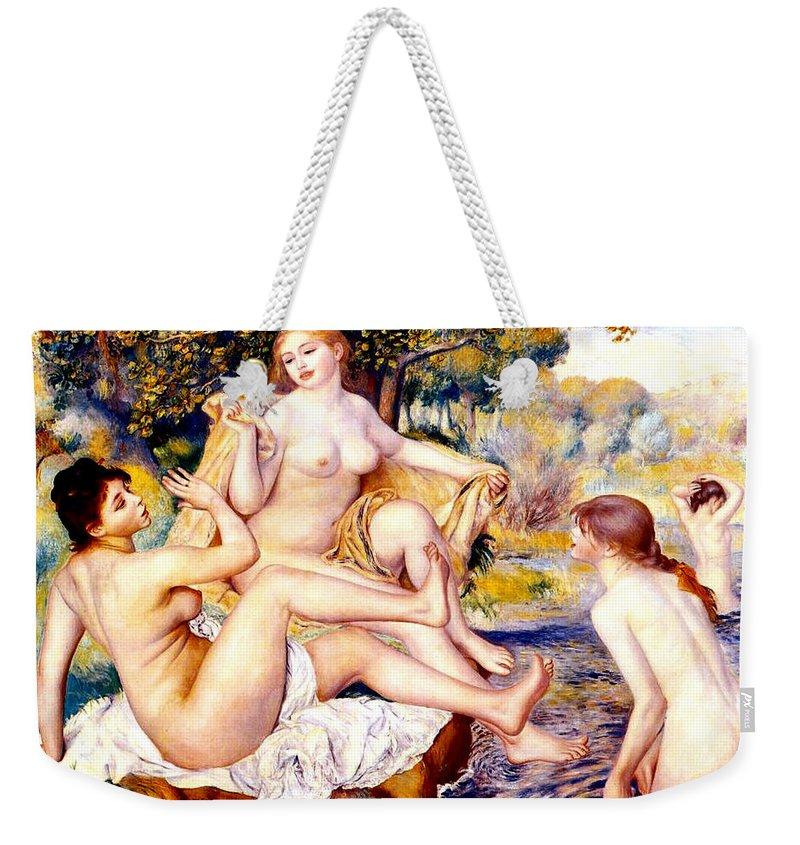 Renoir Weekender Tote Bag featuring the digital art Nude Bathers by Pierre-Auguste Renoir