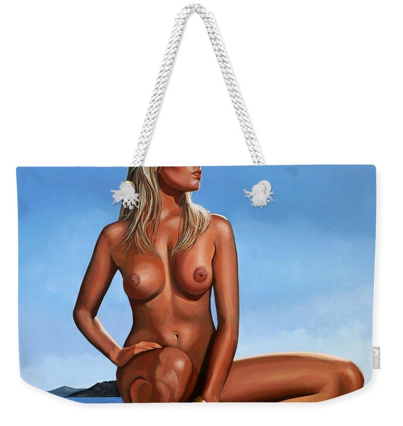 Paul Meijering Weekender Tote Bag featuring the painting Nude Blond Beauty by Paul Meijering