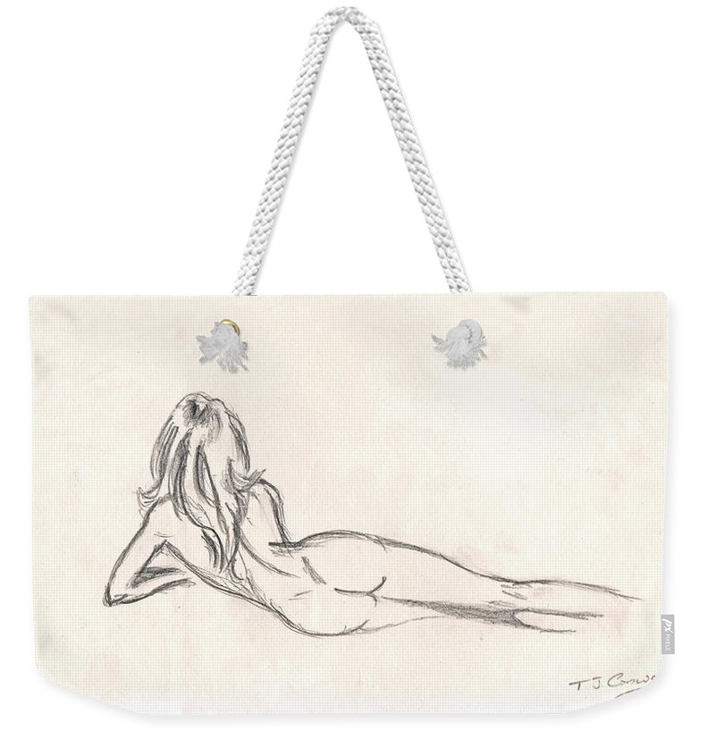 Drawing Weekender Tote Bag featuring the drawing Nude Figure Drawing by Tom Conway