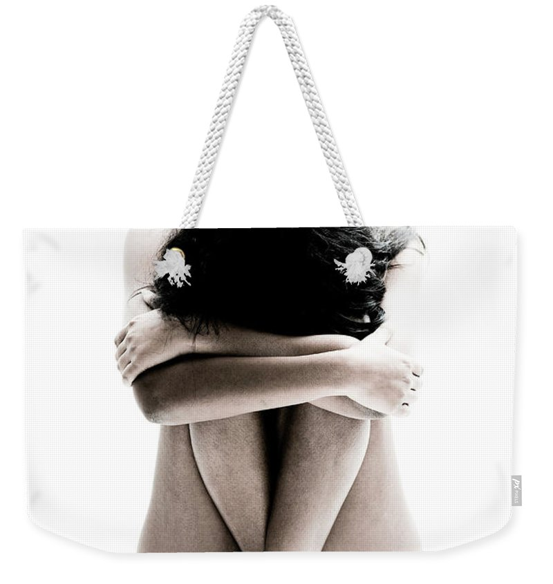 People Weekender Tote Bag featuring the photograph Nude Girl Sitting by Win-initiative