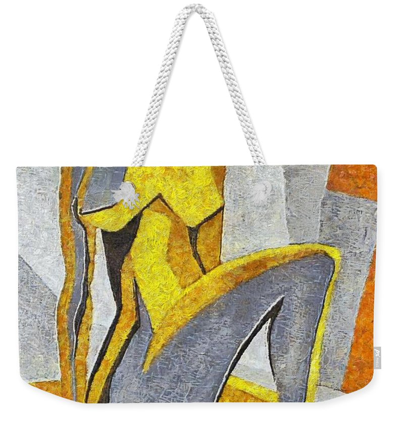 Nude Weekender Tote Bag featuring the painting Nude I by Dragica Micki Fortuna