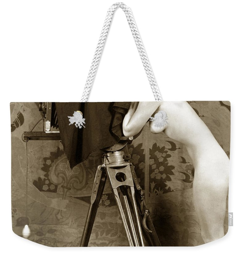 Nude Weekender Tote Bag featuring the photograph Nude In High Heel Shoes With Studio Camera Circa 1920 by California Views Archives Mr Pat Hathaway Archives