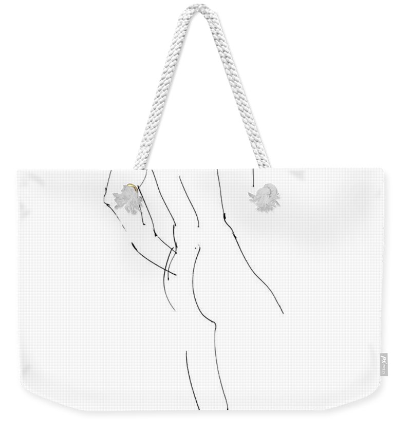Male Weekender Tote Bag featuring the drawing Nude Male Drawings 2 by Gordon Punt