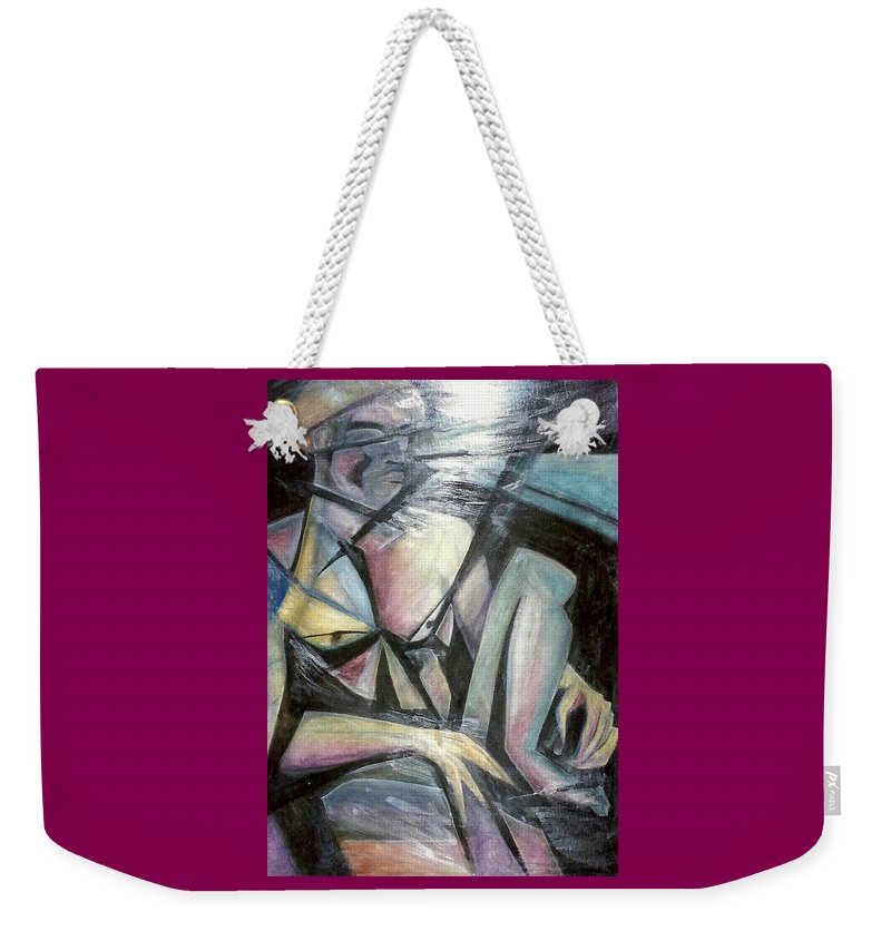 Geometric Weekender Tote Bag featuring the mixed media Nude Model In Studio by Carrie Maurer