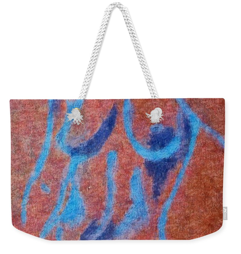 Nude Weekender Tote Bag featuring the drawing Nude V by Dragica Micki Fortuna