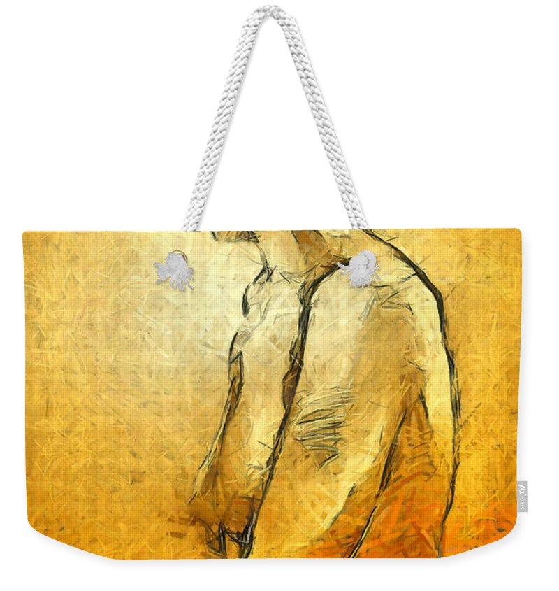 Nude Weekender Tote Bag featuring the painting Nude Viii by Dragica Micki Fortuna