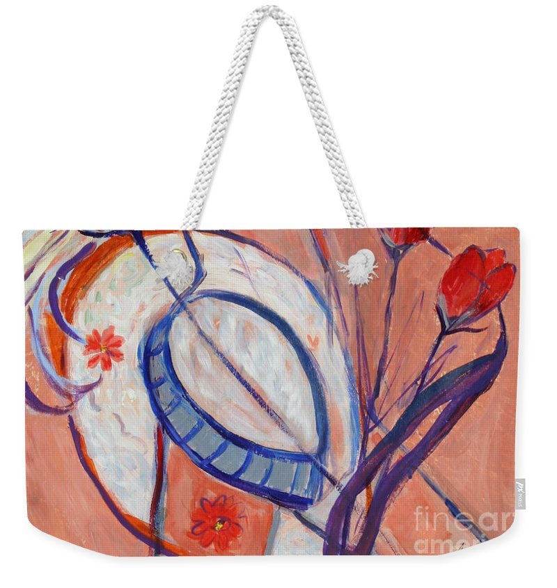 Nude Painting Weekender Tote Bag featuring the painting Nude With A White Hat by Avonelle Kelsey