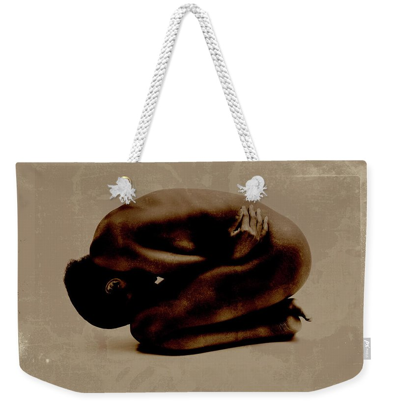 People Weekender Tote Bag featuring the photograph Nude Woman Kneeling Curled Up by Win-initiative