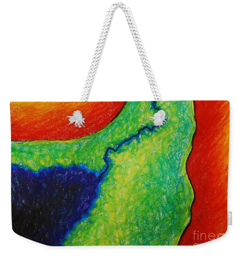 Colored Pencil Weekender Tote Bag featuring the drawing Number 10 by Nancy Mueller