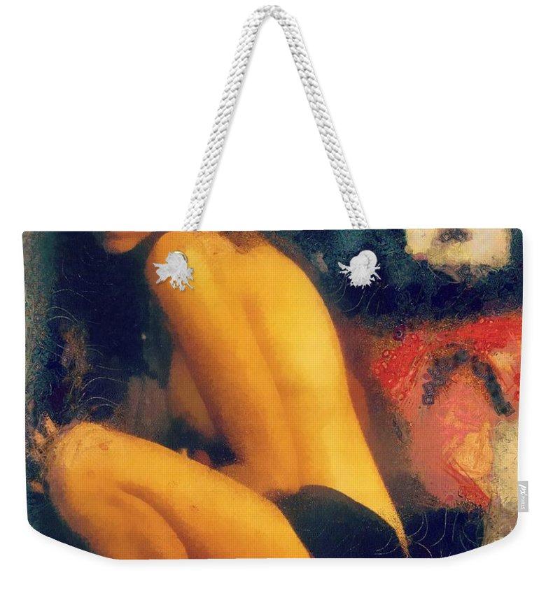 Woman Weekender Tote Bag featuring the painting Number 5 by Janice MacLellan