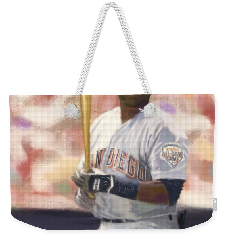 Tony Gwynn Weekender Tote Bag featuring the painting Number Nineteen by Jeremy Nash