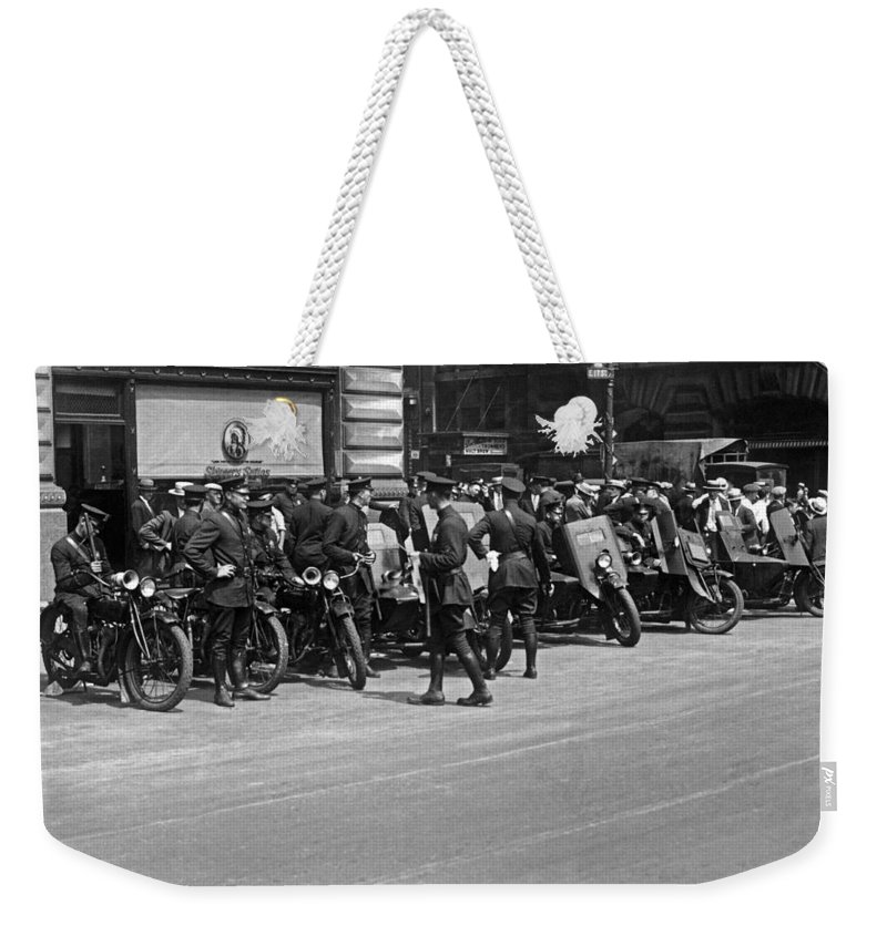 1927 Weekender Tote Bag featuring the photograph Ny Armored Motorcycle Squad by Underwood Archives