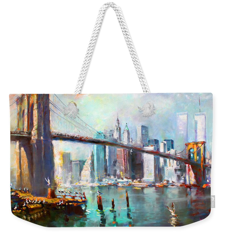 Nyc Weekender Tote Bag featuring the painting NY City Brooklyn Bridge II by Ylli Haruni