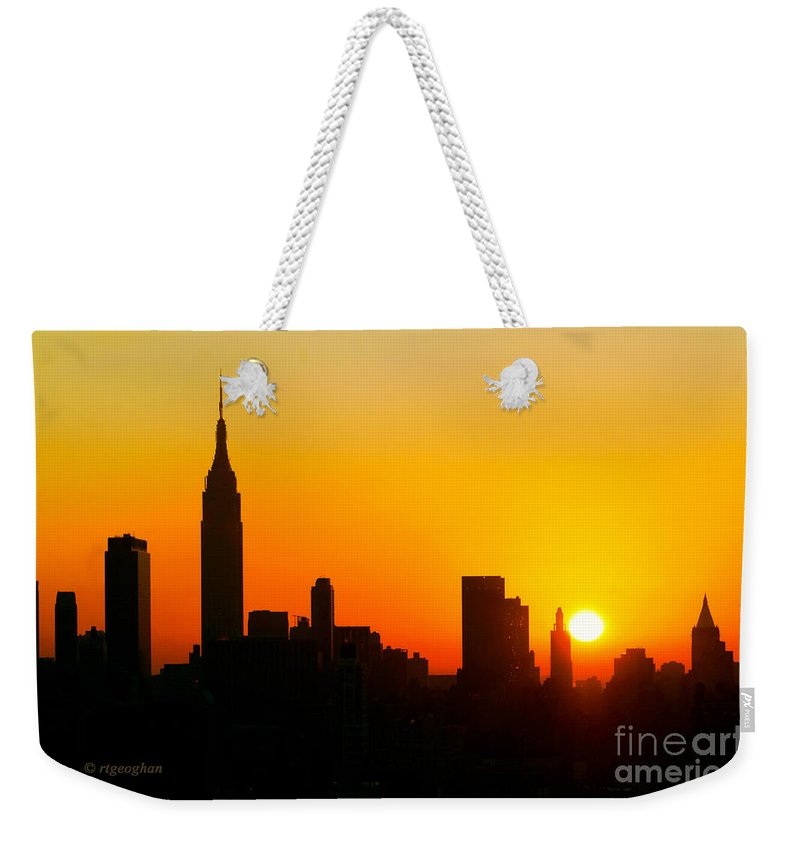 New York Skyline Sunrise Weekender Tote Bag featuring the photograph Ny Sunrise For Thanksgiving by Regina Geoghan