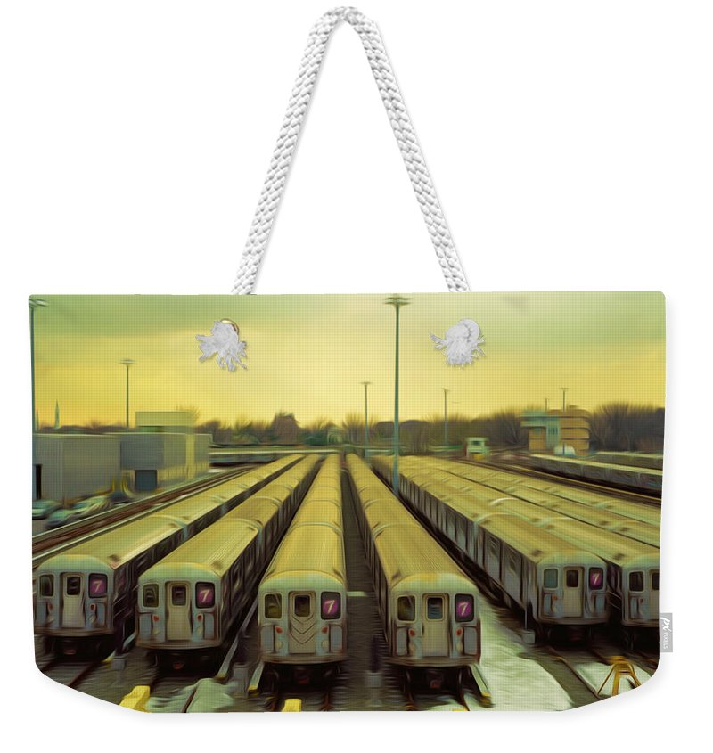 Subway Weekender Tote Bag featuring the painting Nyc Subway Cars by Jeelan Clark