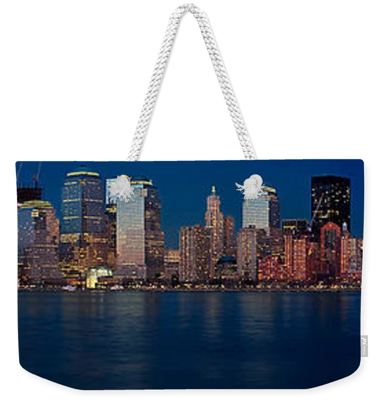 Nyc Weekender Tote Bag featuring the photograph Nyc Twilght Pano by Jerry Fornarotto