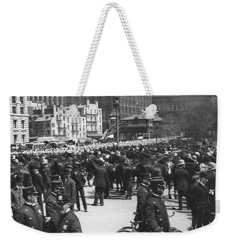 1900 Weekender Tote Bag featuring the photograph Nypd Bicycle Force by Underwood Archives