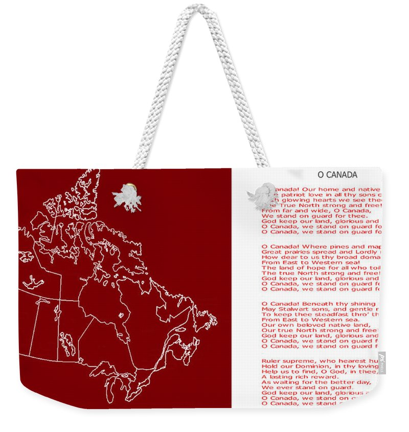 O Canada Lyrics And Map Weekender Tote Bag on maps art, maps food, maps photography, maps design,