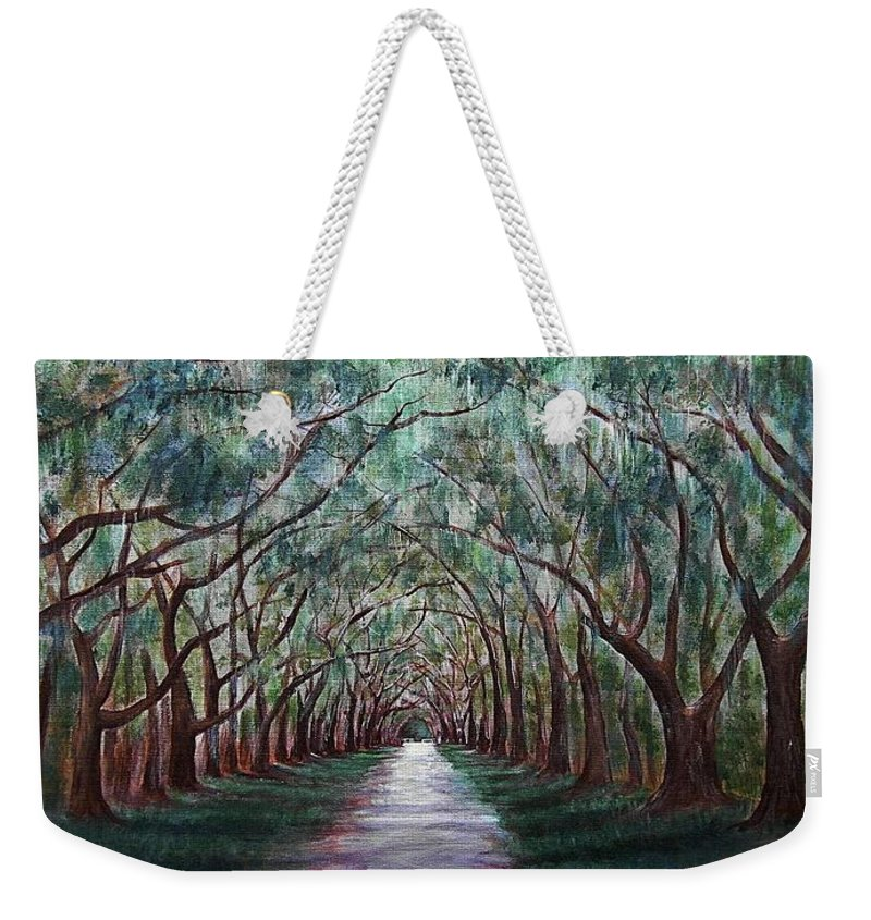 Malakhova Weekender Tote Bag featuring the painting Oak Avenue by Anastasiya Malakhova
