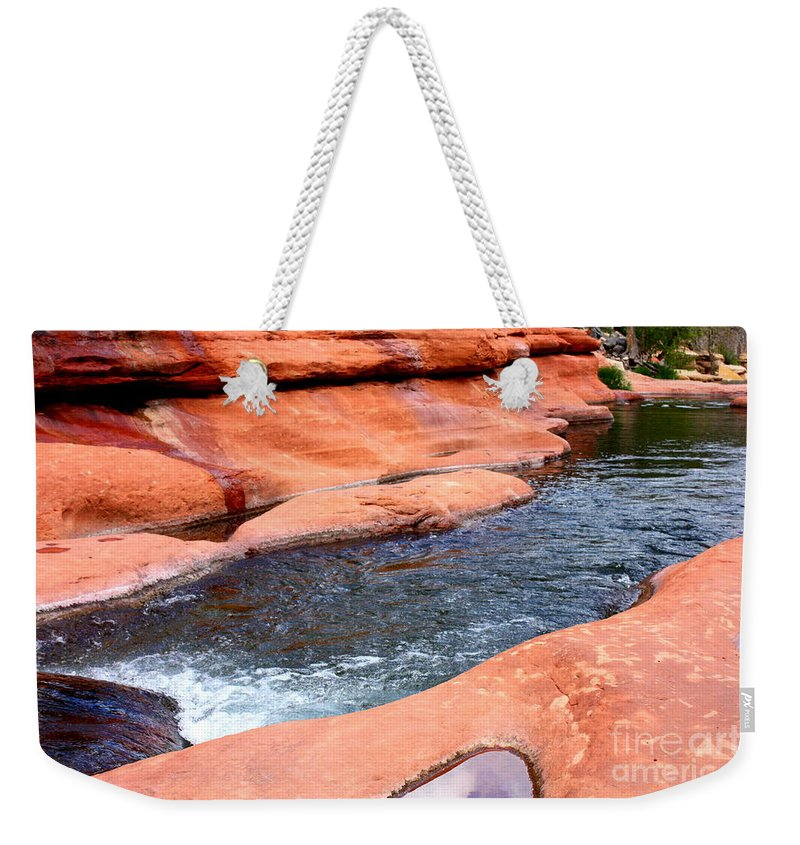 Sedona Weekender Tote Bag featuring the photograph Oak Creek At Slide Rock by Carol Groenen