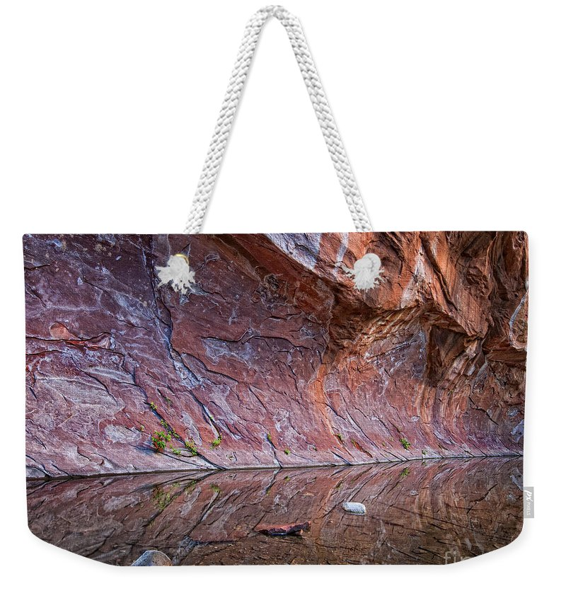 Arizona Weekender Tote Bag featuring the photograph Oak Creek Reflection by Claudia Kuhn