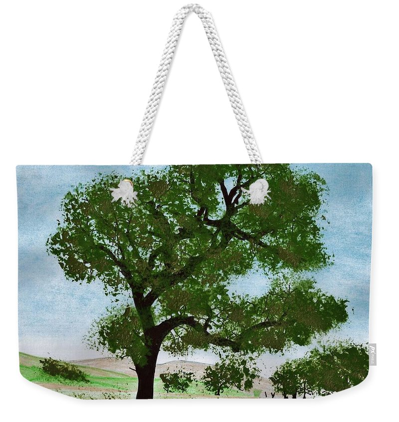 Landscape Weekender Tote Bag featuring the drawing Oak Tree Landscape by D Hackett