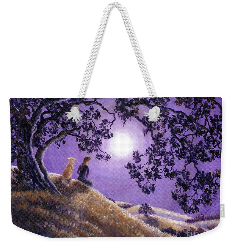 Zen Weekender Tote Bag featuring the painting Oak Tree Meditation by Laura Iverson