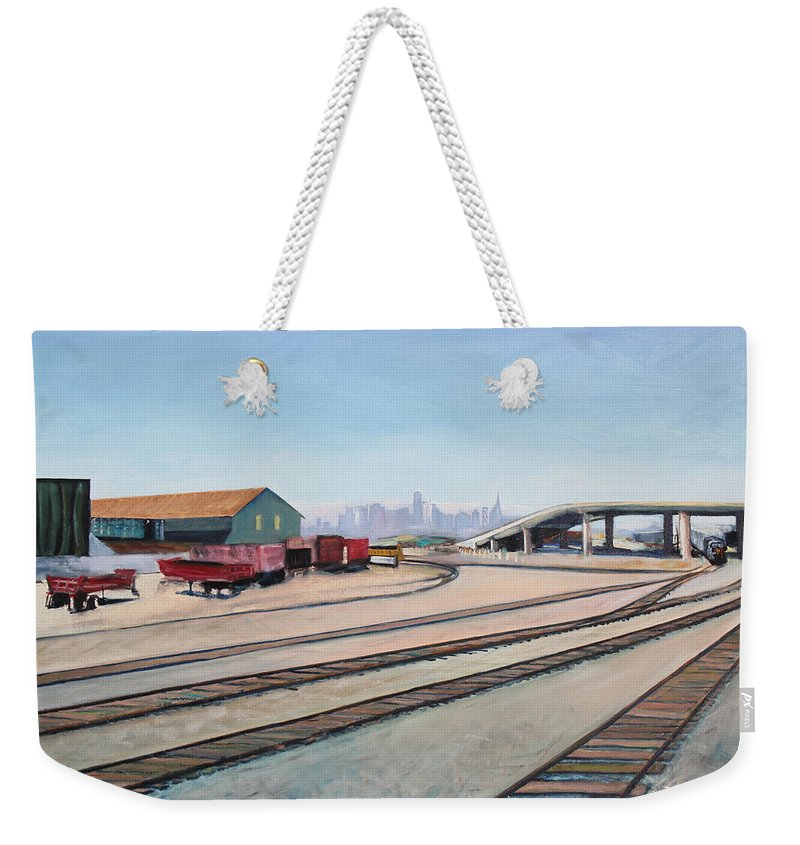Urban Painting Weekender Tote Bag featuring the painting Oakland Train Tracks And San Francisco Skyline by Asha Carolyn Young