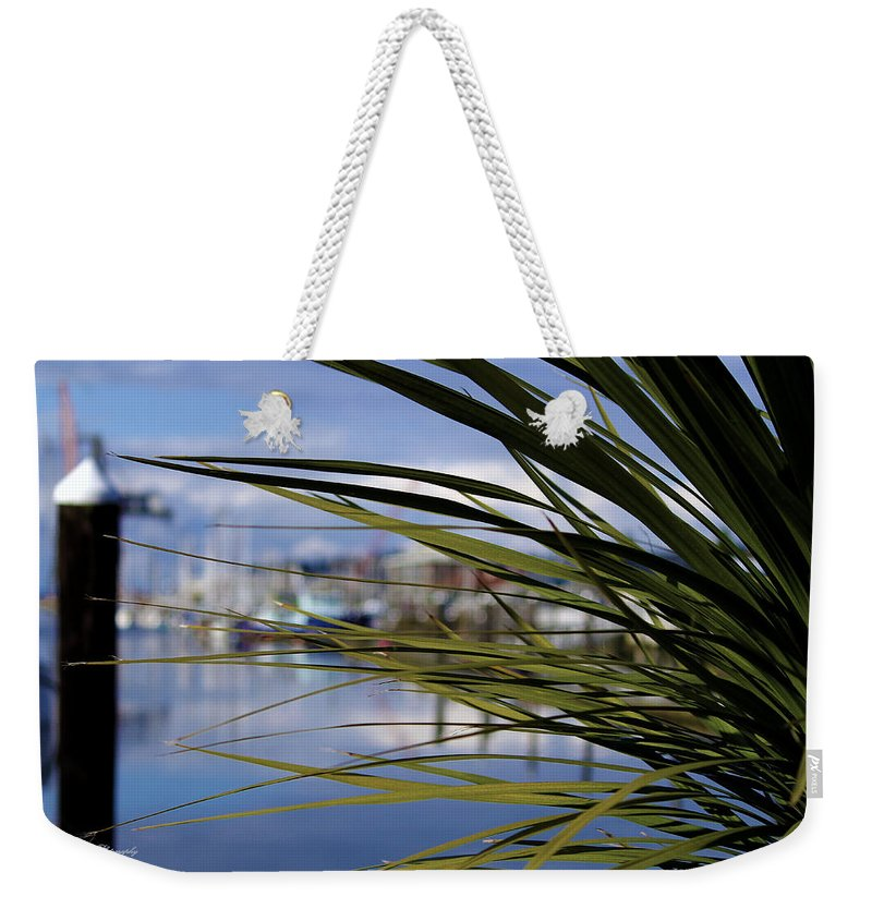 Percival Landing Weekender Tote Bag featuring the photograph Obscured View Of Percival Landing by Jeanette C Landstrom
