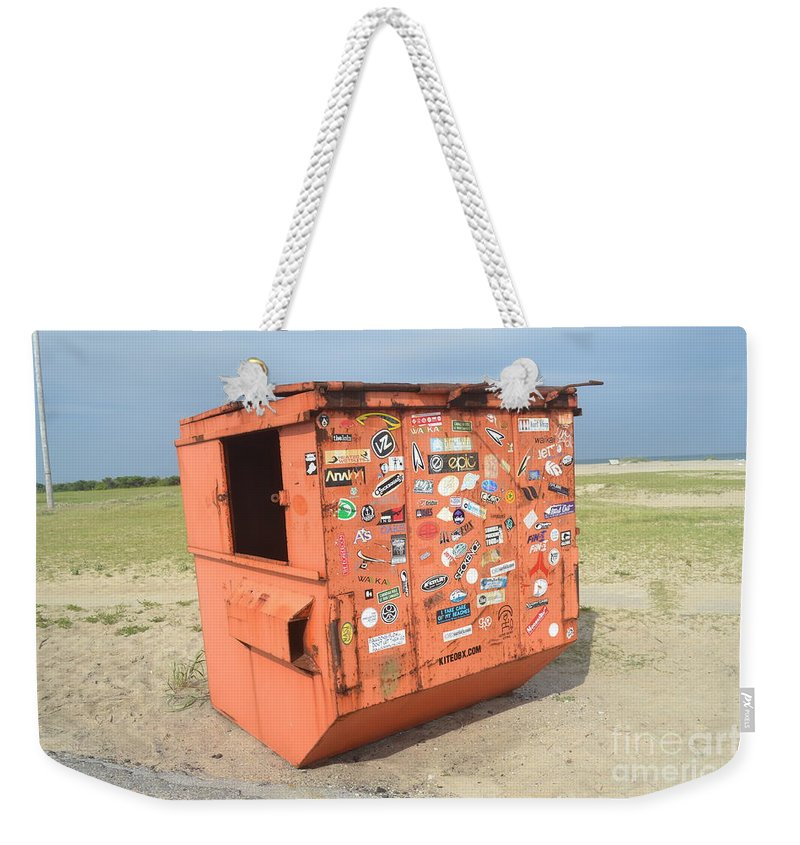 A Dumpster Covered In Surfer Stickers At Cape Hatteras Beach. Weekender Tote Bag featuring the photograph Obx Beach Dumpster by Robert Loe