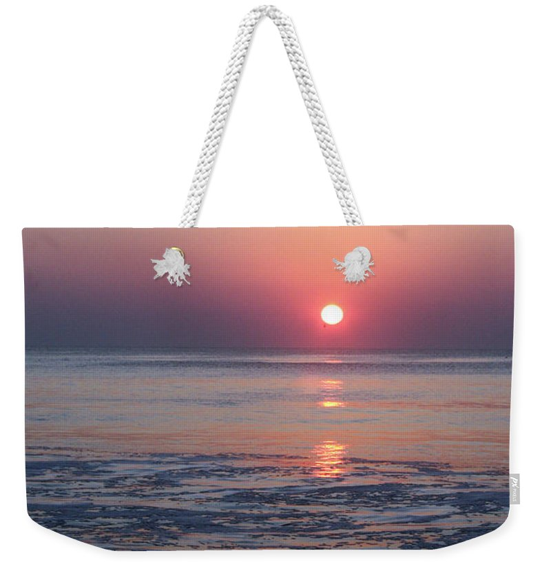 Ocean City Weekender Tote Bag featuring the photograph Oc Sunrise1 by Carolyn Stagger Cokley