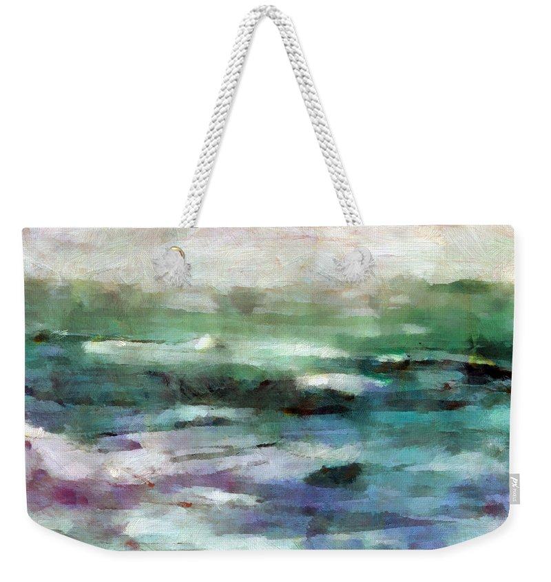 Ocean Weekender Tote Bag featuring the mixed media Ocean 2 by Angelina Vick