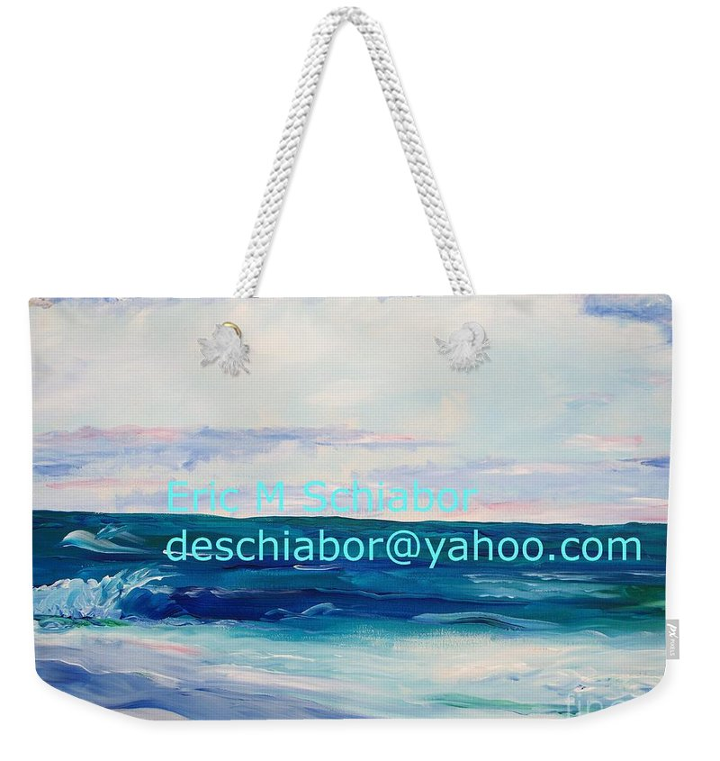 Floral Weekender Tote Bag featuring the painting Ocean Assateague Virginia by Eric Schiabor