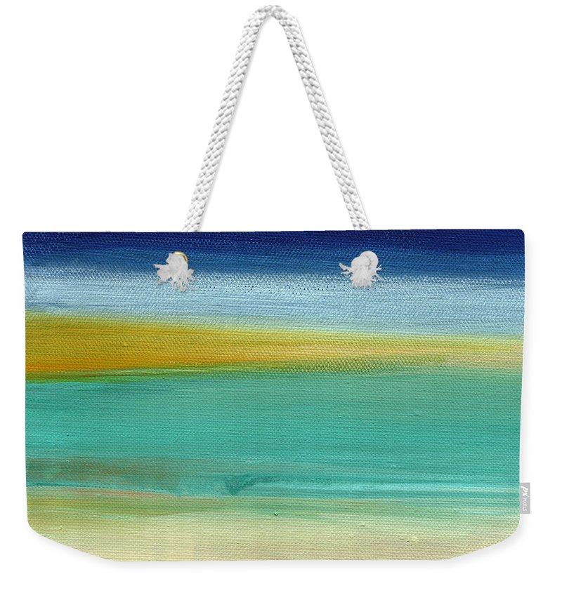 Abstract Weekender Tote Bag featuring the painting Ocean Blue 3- Art by Linda Woods by Linda Woods