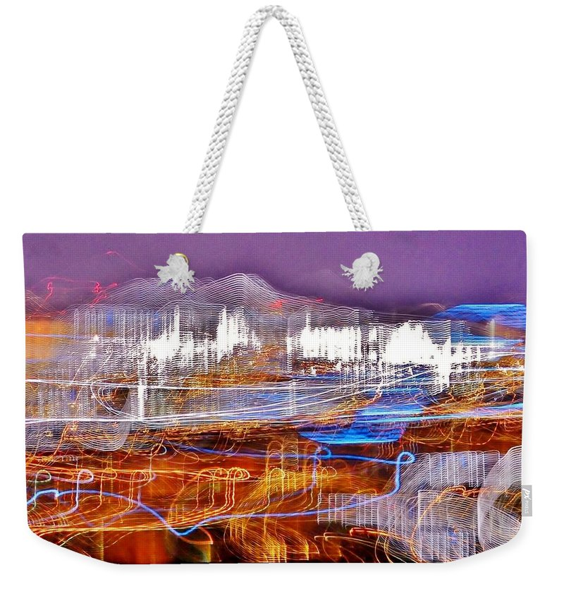 Ocean City Weekender Tote Bag featuring the photograph Ocean City By Night - Abstract Purple by Kim Bemis