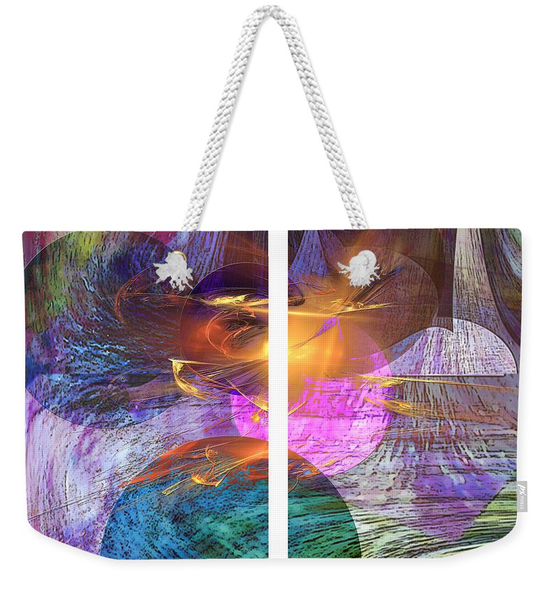 Ocean Fire Weekender Tote Bag featuring the digital art Ocean Fire - Square Version by John Beck