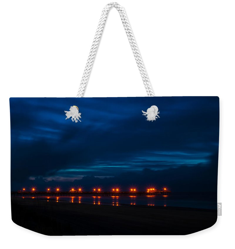 Pier Weekender Tote Bag featuring the photograph Ocean Pier At Dawn 2 by Photos By Cassandra