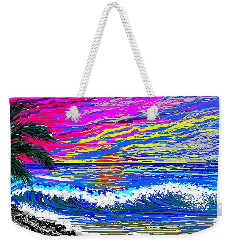 Ocean Sunset Quickly Sketched In 3 Hours. Weekender Tote Bag featuring the digital art Ocean Sunset by Larry Lehman