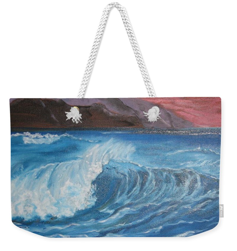 Deep Ocean Waves Weekender Tote Bag featuring the painting Ocean Wave by Jenny Lee