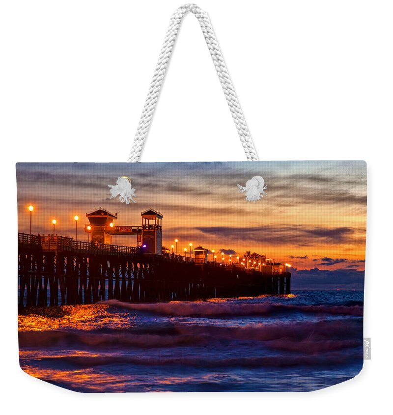 Oceanside Pier Weekender Tote Bag featuring the photograph Oceanside Sunset IIi by Diana Powell