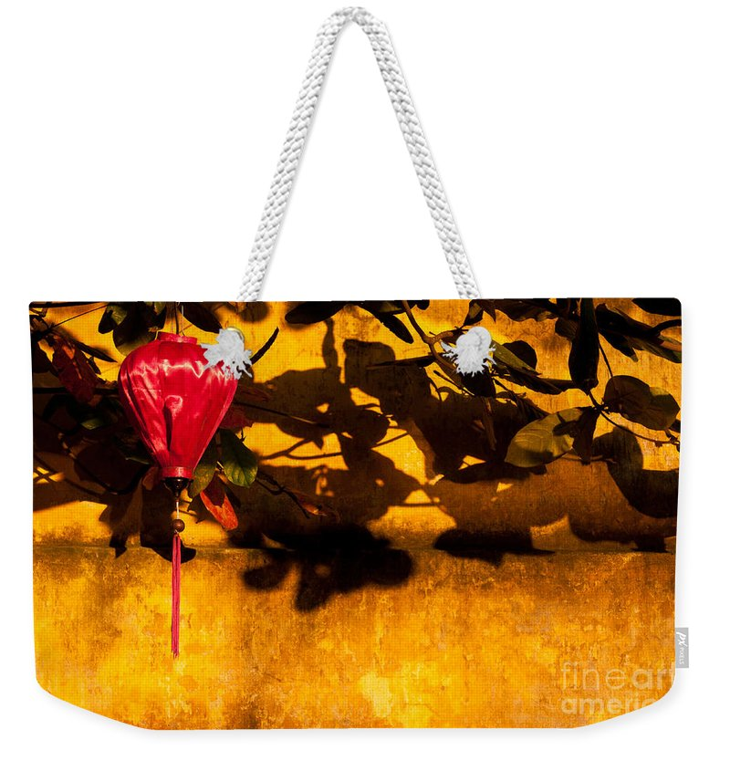 Vietnam Weekender Tote Bag featuring the photograph Ochre Wall Silk Lantern 02 by Rick Piper Photography