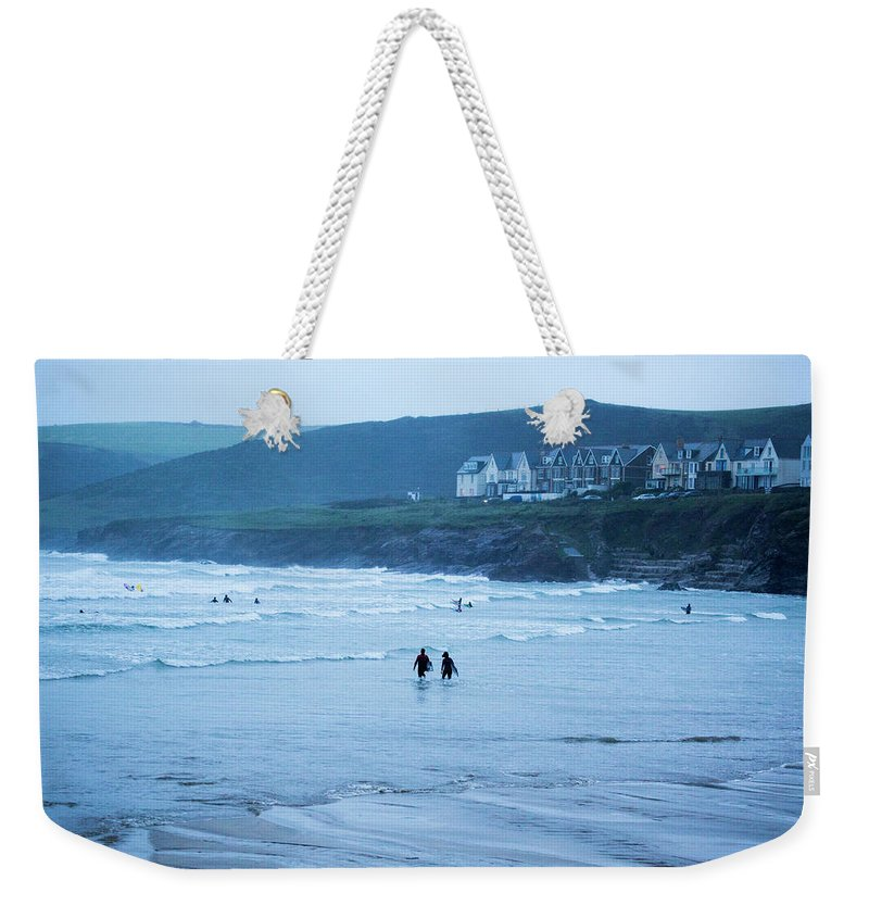 Built Structure Weekender Tote Bag featuring the photograph October Evening Surf by Landscapes, Seascapes, Jewellery & Action Photographer