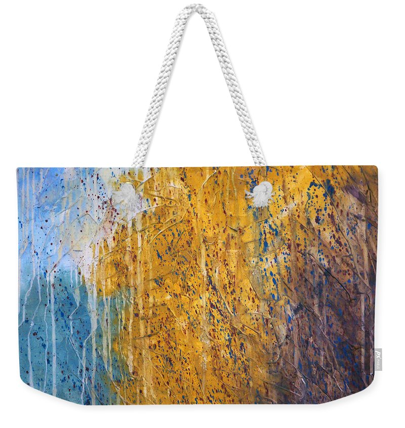 Landscape Weekender Tote Bag featuring the painting October by Sergey Bezhinets