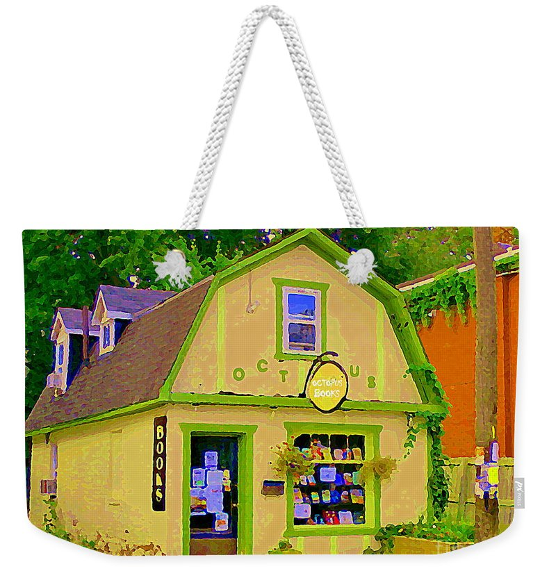 Ottawa Weekender Tote Bag featuring the painting Octopus Bookstore 3rd Ave Bank Street Nepean The Glebe Paintings Of Ottawa Carole Spandau by Carole Spandau