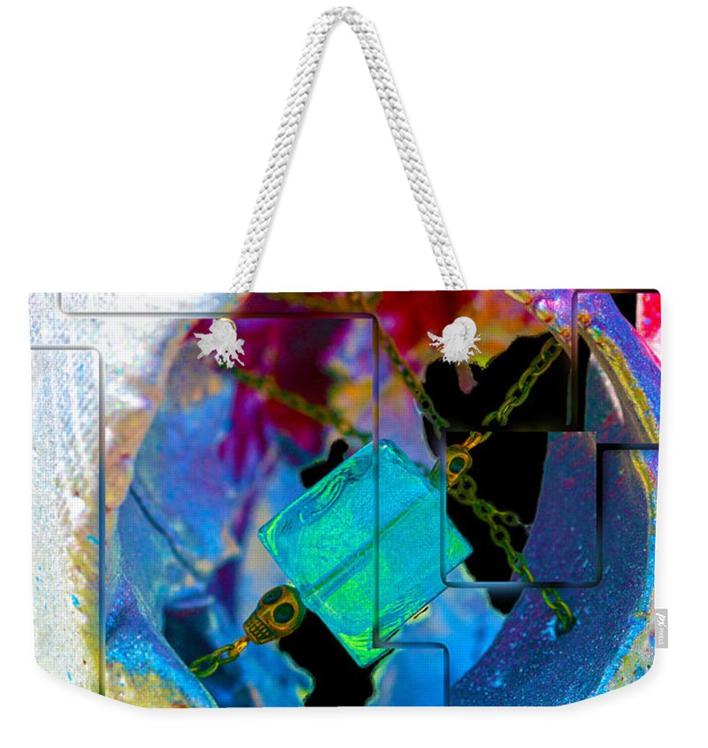 Sheet Tags Weekender Tote Bag featuring the photograph Ocular Mayhem by Mayhem Mediums