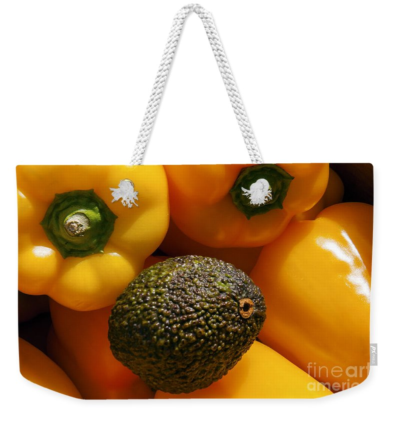 Apt France Bell Pepper Yellow Orange Peppers Avocado Avocados Fresh Fruit Ripe Fruits Food Foods Market Markets Vegetable Vegetables Still Life Provence Weekender Tote Bag featuring the photograph Odd Ball by Bob Phillips