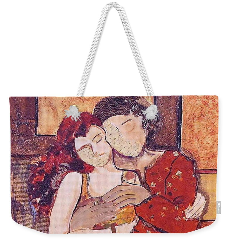 Man Weekender Tote Bag featuring the painting Ode To Klimt by Debi Starr